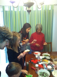 My cousin Heather and her mom decorate sugar cookies