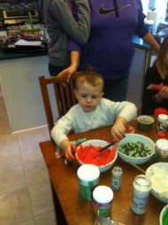 My nephew Will jumped right in -- you have to wonder why his mom put him in a white shirt!