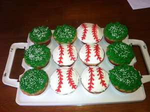 Baseball and grass cupcakes with leftover batter