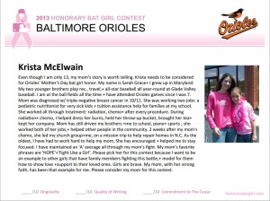 Sarah Grace's Honorary Bat Girl Nomination Essay