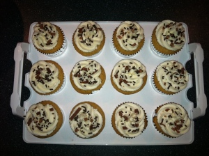 From the top - cupcakes with chocolate jimmies and shaved dark chocolate