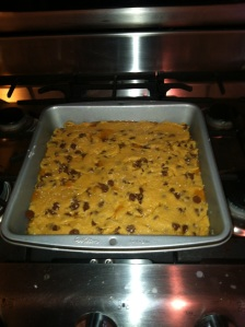 Salted Caramel Chocolate Chip Bars Going into the Oven