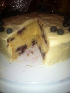 Lemon blueberry cake inside