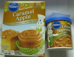 Caramel apple cake mix and frosting