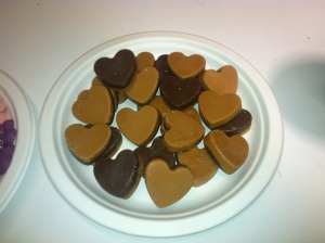 Milk chocolate and peanut butter candy melt hearts