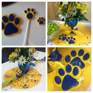 Lion paw candies incorporated into the party decorations