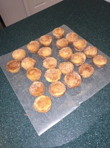 First batch out of the oven and dipped in the cinnamon sugar mix