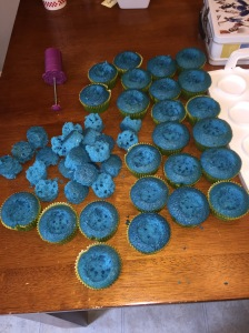 Blue cupcakes hollowed out